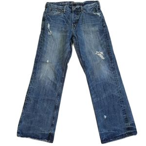 American Eagle Distressed Button Fly Bootcut Jeans
